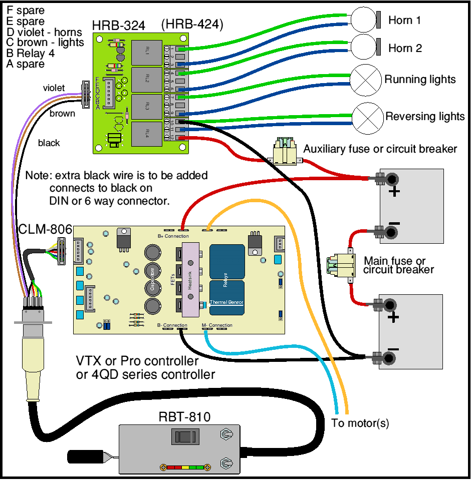 Loco Wiring Hand Control Horn Relay Board 4QD Electric Motor